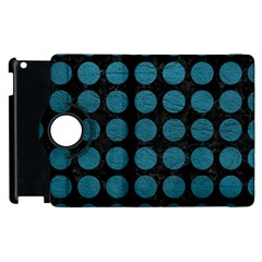 Circles1 Black Marble & Teal Leather (r) Apple Ipad 2 Flip 360 Case by trendistuff