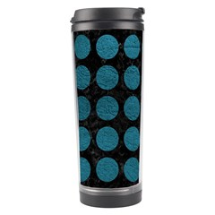 Circles1 Black Marble & Teal Leather (r) Travel Tumbler by trendistuff