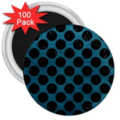 Circles2 Black Marble & Teal Leather 3  Magnets (100 Pack) by trendistuff