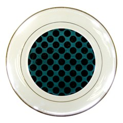 Circles2 Black Marble & Teal Leather Porcelain Plates by trendistuff