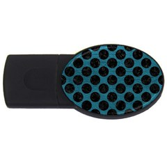 Circles2 Black Marble & Teal Leather Usb Flash Drive Oval (4 Gb) by trendistuff