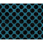 CIRCLES2 BLACK MARBLE & TEAL LEATHER Deluxe Canvas 14  x 11  14  x 11  x 1.5  Stretched Canvas