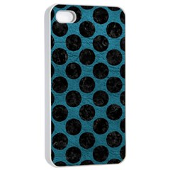 Circles2 Black Marble & Teal Leather Apple Iphone 4/4s Seamless Case (white) by trendistuff