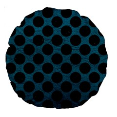 Circles2 Black Marble & Teal Leather Large 18  Premium Round Cushions by trendistuff