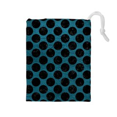 Circles2 Black Marble & Teal Leather Drawstring Pouches (large)  by trendistuff