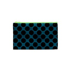 Circles2 Black Marble & Teal Leather Cosmetic Bag (xs) by trendistuff