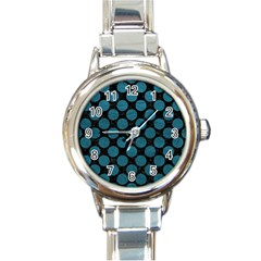 Circles2 Black Marble & Teal Leather (r) Round Italian Charm Watch by trendistuff