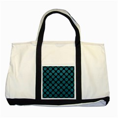 Circles2 Black Marble & Teal Leather (r) Two Tone Tote Bag by trendistuff