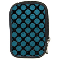 Circles2 Black Marble & Teal Leather (r) Compact Camera Cases by trendistuff