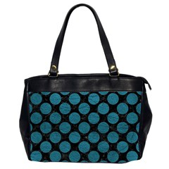 Circles2 Black Marble & Teal Leather (r) Office Handbags (2 Sides)  by trendistuff