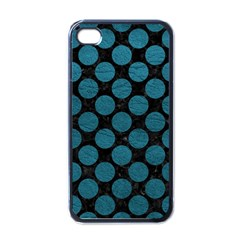 Circles2 Black Marble & Teal Leather (r) Apple Iphone 4 Case (black) by trendistuff
