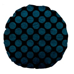 Circles2 Black Marble & Teal Leather (r) Large 18  Premium Round Cushions by trendistuff