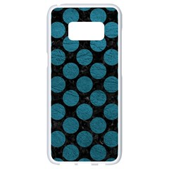 Circles2 Black Marble & Teal Leather (r) Samsung Galaxy S8 White Seamless Case by trendistuff
