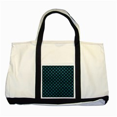 Circles3 Black Marble & Teal Leather Two Tone Tote Bag by trendistuff