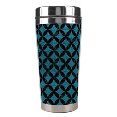 Circles3 Black Marble & Teal Leather Stainless Steel Travel Tumblers by trendistuff