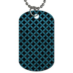 Circles3 Black Marble & Teal Leather (r) Dog Tag (one Side) by trendistuff