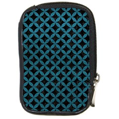 Circles3 Black Marble & Teal Leather (r) Compact Camera Cases by trendistuff