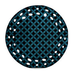 Circles3 Black Marble & Teal Leather (r) Ornament (round Filigree) by trendistuff