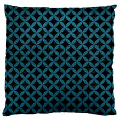 Circles3 Black Marble & Teal Leather (r) Large Flano Cushion Case (two Sides) by trendistuff