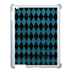 Diamond1 Black Marble & Teal Leather Apple Ipad 3/4 Case (white) by trendistuff
