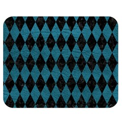 Diamond1 Black Marble & Teal Leather Double Sided Flano Blanket (medium)