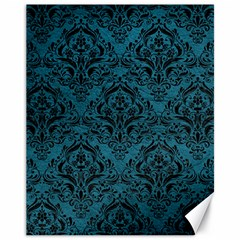 Damask1 Black Marble & Teal Leather Canvas 11  X 14   by trendistuff