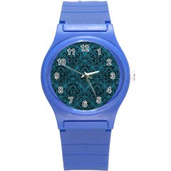 Damask1 Black Marble & Teal Leather Round Plastic Sport Watch (s) by trendistuff