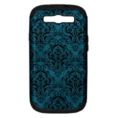 Damask1 Black Marble & Teal Leather Samsung Galaxy S Iii Hardshell Case (pc+silicone) by trendistuff