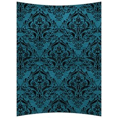 Damask1 Black Marble & Teal Leather Back Support Cushion by trendistuff