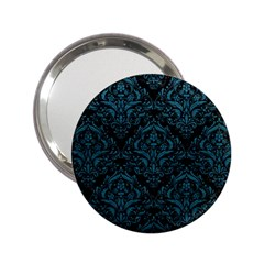 Damask1 Black Marble & Teal Leather (r) 2 25  Handbag Mirrors by trendistuff