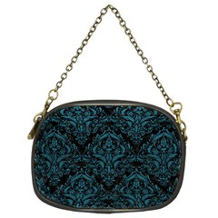 Damask1 Black Marble & Teal Leather (r) Chain Purses (two Sides)  by trendistuff