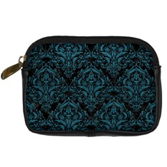 Damask1 Black Marble & Teal Leather (r) Digital Camera Cases by trendistuff