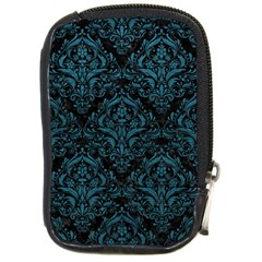 Damask1 Black Marble & Teal Leather (r) Compact Camera Cases by trendistuff