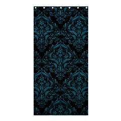 Damask1 Black Marble & Teal Leather (r) Shower Curtain 36  X 72  (stall)  by trendistuff