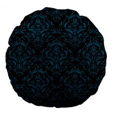 Damask1 Black Marble & Teal Leather (r) Large 18  Premium Round Cushions by trendistuff