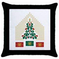 Christmas Tree Present House Star Throw Pillow Case (black) by Celenk