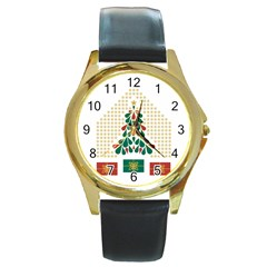 Christmas Tree Present House Star Round Gold Metal Watch by Celenk