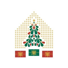 Christmas Tree Present House Star Shower Curtain 48  X 72  (small)  by Celenk