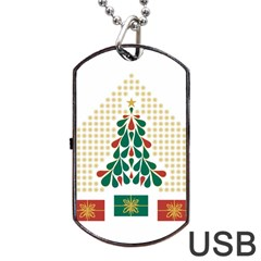 Christmas Tree Present House Star Dog Tag Usb Flash (one Side) by Celenk