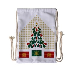 Christmas Tree Present House Star Drawstring Bag (small) by Celenk