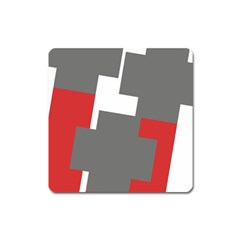 Cross Abstract Shape Line Square Magnet