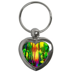 Abstract Vibrant Colour Botany Key Chains (heart)  by Celenk
