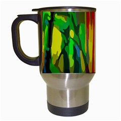 Abstract Vibrant Colour Botany Travel Mugs (white) by Celenk