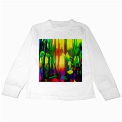 Abstract Vibrant Colour Botany Kids Long Sleeve T Shirts