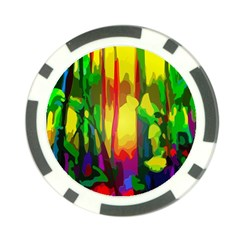 Abstract Vibrant Colour Botany Poker Chip Card Guard