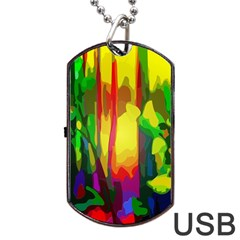 Abstract Vibrant Colour Botany Dog Tag Usb Flash (two Sides) by Celenk