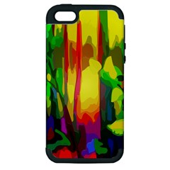 Abstract Vibrant Colour Botany Apple Iphone 5 Hardshell Case (pc+silicone)