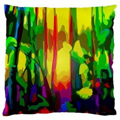 Abstract Vibrant Colour Botany Large Flano Cushion Case (one Side)