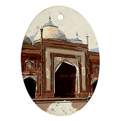 Agra Taj Mahal India Palace Oval Ornament (two Sides) by Celenk
