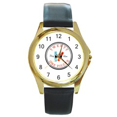 Twenty One Pilots Round Gold Metal Watch by Celenk